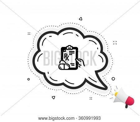 Prescription Rx Recipe Icon. Quote Speech Bubble. Medicine Drugs Pills Sign. Quotation Marks. Classi