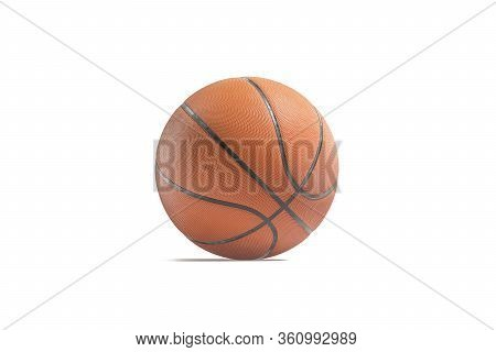 Blank Leather Basketball Ball Mockup, Half-turned View, 3d Rendering. Empty Orange Playing Bal For P
