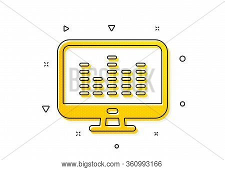 Dj App Sign. Music Making Icon. Musical Device Symbol. Yellow Circles Pattern. Classic Music Making