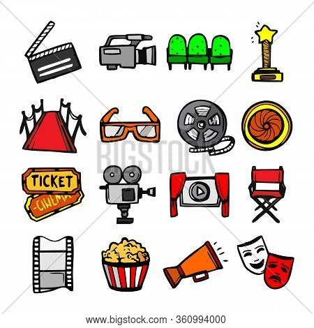Mass Media Outline Vector Icons Set Isolated On White Background. Media Business Concept. Media Line