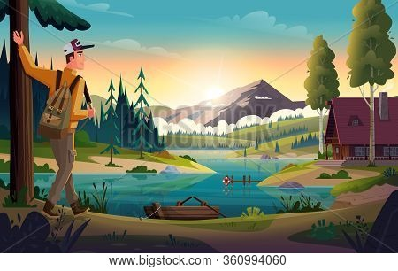Camper Man Looking At The Mountain Lake And Hut On Coast. Landscape Of Discovery, Hiking, Adventure