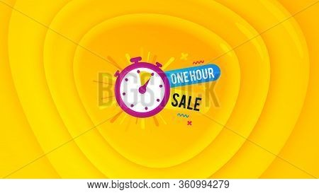 One Hour Sale Icon. Geometric Plastic Design Banner. Discount Banner Shape. Special Offer Timer Icon