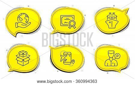 Valet Servant Sign. Diploma Certificate, Save Planet Chat Bubbles. Flight Destination, Ship And Pack