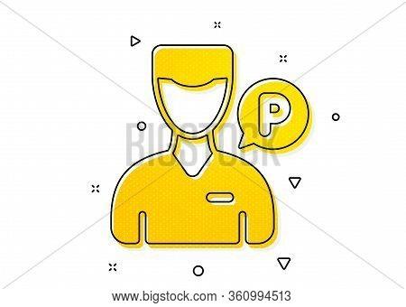 Parking Person Sign. Valet Servant Icon. Transport Park Service Symbol. Yellow Circles Pattern. Clas