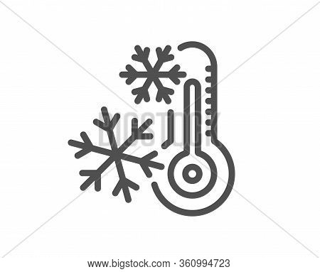 Freezing Thermometer Line Icon. Ac Cold Temperature Sign. Fridge Function Symbol. Quality Design Ele