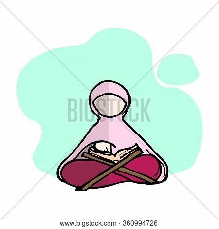 Muslim Woman In Green Traditional Hijab Sitting And Reading Koran Vector Illustration