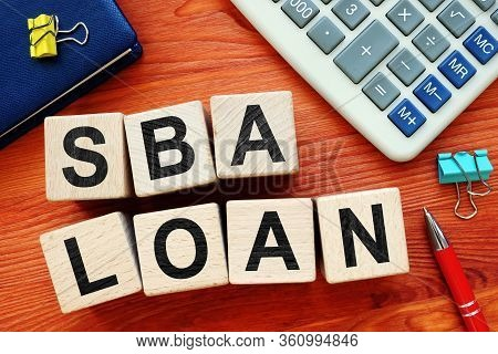 Sba Loan Concept. Wooden Cubes With Letters.