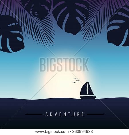 Sunset At Sea With Yacht Marine Nature Landscape With Sailboat And Palm Vector Illustration Eps10