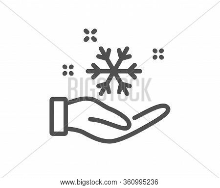 Freezing Hand Line Icon. Ac Cold Temperature Sign. Fridge Function Symbol. Quality Design Element. E