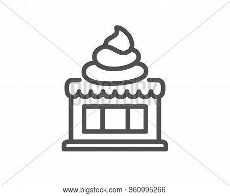 Ice Cream Shop Line Icon. Vanilla Sundae Sign. Frozen Summer Dessert Symbol. Quality Design Element.