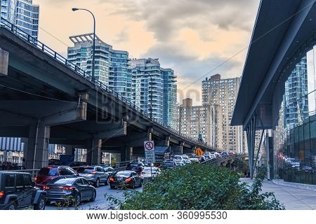 Car Traffic Jam At The Entrance Of A Freeway In Downtown Toronto. City And Transport Concept. Toront