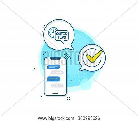 Helpful Tricks Sign. Phone Messages Complex Icon. Quick Tips Line Icon. Tutorials Symbol. Messenger