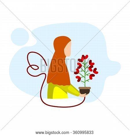 Hijab Women Bring Plants, Hijab Women Designs, Ramadhan Kareem, Eid Mubarak, Illustration Vector Des