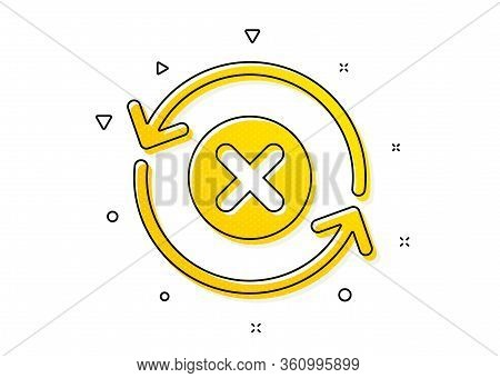 Decline Update Sign. Reject Refresh Icon. Rotation Arrow. Yellow Circles Pattern. Classic Reject Ref