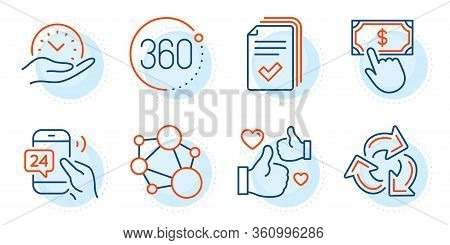 Payment Click, 360 Degrees And Handout Signs. Recycle, Integrity And Safe Time Line Icons Set. Like,