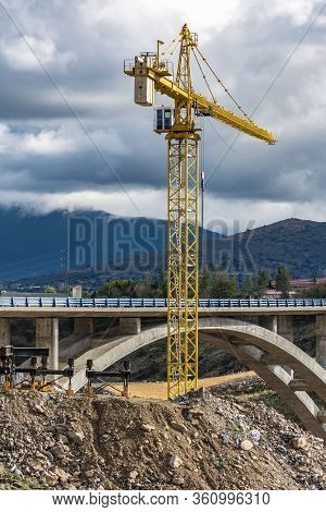 Crane And Scaffolding Structures Intended For The Construction Of A Bridge In Spain