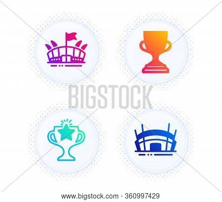 Arena, Victory And Award Cup Icons Simple Set. Button With Halftone Dots. Arena Stadium Sign. Sport