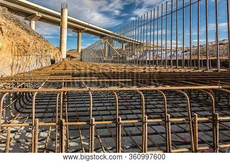 Formwork And Ironwork In The Construction Of A Highway Bridge