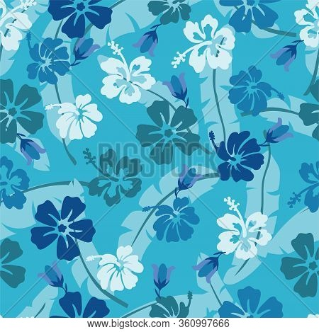 Seamless Pattern Of Hawaiian Hibiscus Blue Flowers
