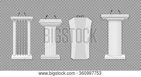 White Podium, Tribune With Microphones. Creative Vector Illustration Of A Podium Tribune With Microp
