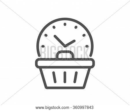 Last Minute Sale Line Icon. Shopping Opening Hours Sign. Supermarket Time Symbol. Quality Design Ele