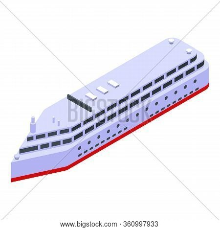 Big Cruise Ship Icon. Isometric Of Big Cruise Ship Vector Icon For Web Design Isolated On White Back