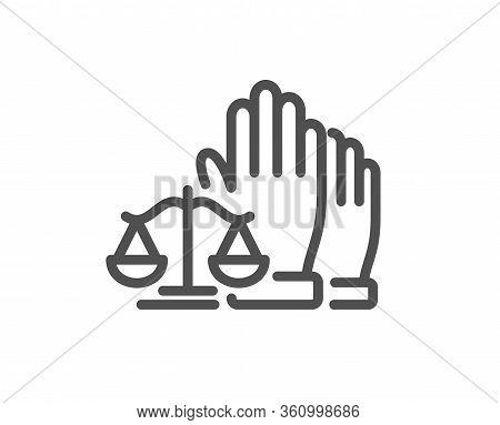 Court Jury Voting Line Icon. Justice Scales Sign. Judgement Law Symbol. Quality Design Element. Edit