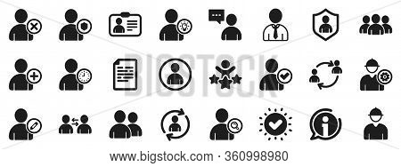 Profile, Group Of People And Support Signs. Users Icons. Id Card, Teamwork People And Businessman Us