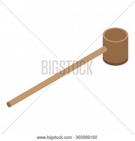 Wood Tea Ceremony Spoon Icon. Isometric Of Wood Tea Ceremony Spoon Vector Icon For Web Design Isolat