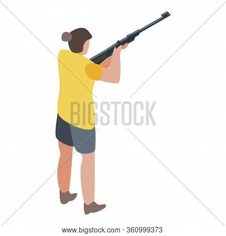 Woman Shooter Icon. Isometric Of Woman Shooter Vector Icon For Web Design Isolated On White Backgrou
