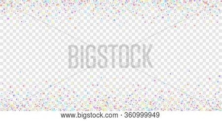 Festive Confetti. Celebration Stars. Colorful Stars On Transparent Background. Cool Festive Overlay