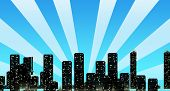 Cityscape Skyline with Sun Rays Overshadowing Buildings in Blue poster