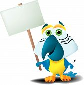 a cartoon parrot holding a sign and a paintbrush. poster