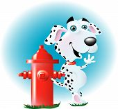 a happy fire dog leaning on a shiny fire hydrant. poster