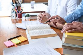Tutor Book With Friends Education, Group Students Studying And Teaching Helping And Study Course Wit