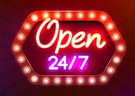 24 7 Neon Sinboard Vector. Open All Day Neon Sign, Design Template, Modern Trend Design, Night Signb