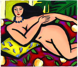 Illustration Of A Naked Lady Lounging