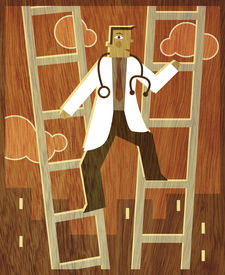 A Doctor Climbing Up Between Two Ladders