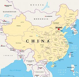 China, Political Map, With Administrative Divisions. Prc, Peoples Republic Of China, Capital Beijing