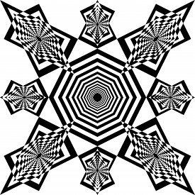 Abstract Arabesque Pointilistic Shield Table Developement Project Design Black On Transparent Seamle