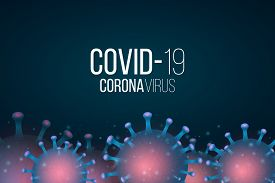 Web Banner For Covid 19. 3d Microbe With Blue Light Effect. Medical Banner. Sign And Symbol. Pathoge