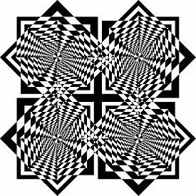 Abstract Arabesque Diamond Square Game Black Cross Celtic Like Swirll Developement Project Design Bl