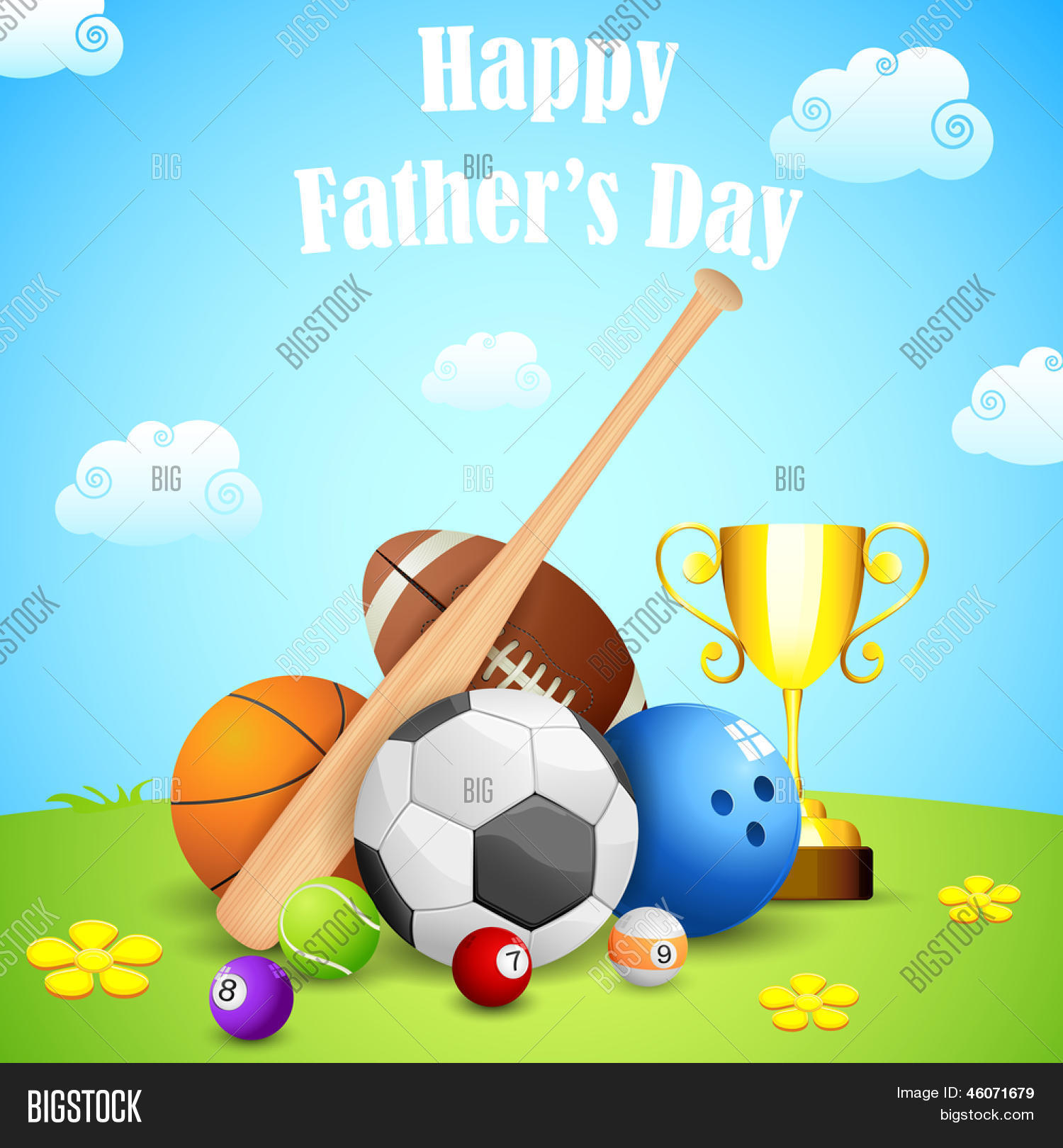 Illustration Of Sports Ball And Trophy In Fathers Day Background