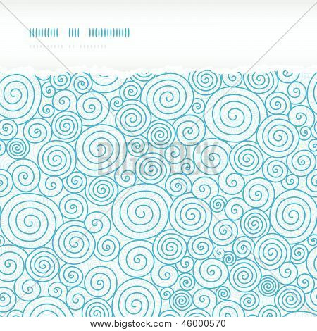 Vector abstract swirls  horizontal torn seamless pattern background with hand drawn curl elements in blue. poster