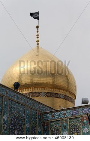 Golden dome of Fatima mosque in Qom Iran poster