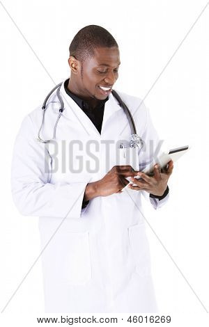 Smiling doctor using a tablet computer isolated on a white background