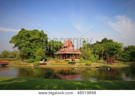 Thai Pavilion In Garden And Blue Sky