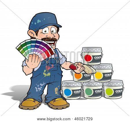 Cartoon illustration of a handyman - Painter presenting a color index & showing buckets of color. poster