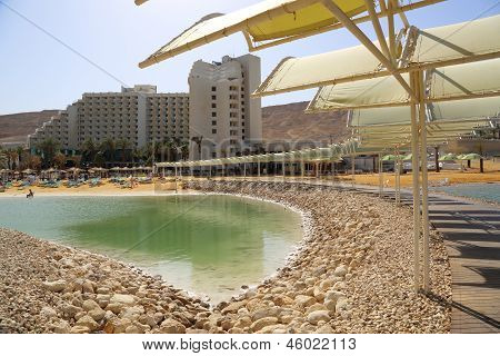 Area of hotels and spa on the Dead Sea