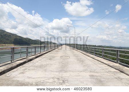Road On Dam Ridge On Summer In Thailand